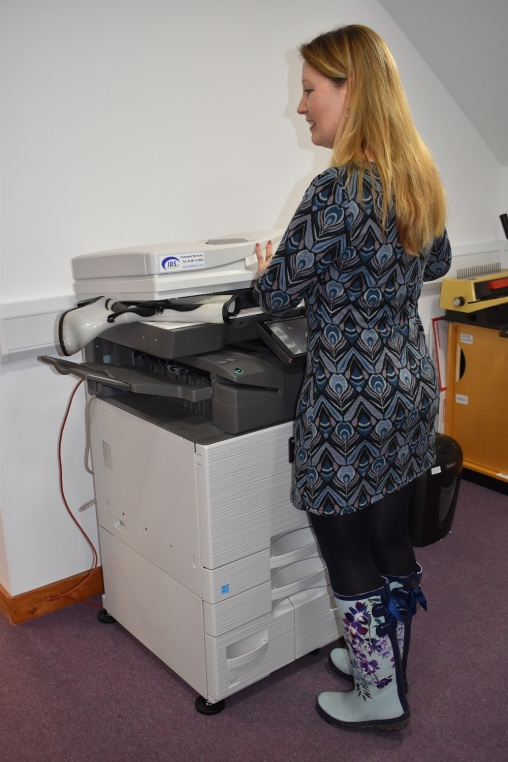 Wellies at the photocopier